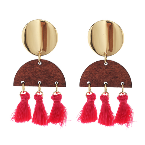 BOHO TASSEL N WOOD EARRING - HOT PINK