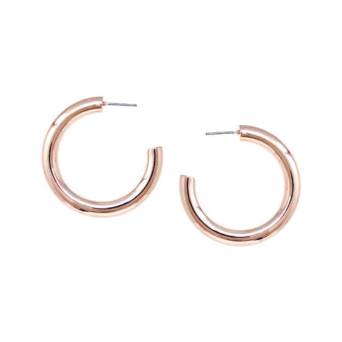 BITZ METAL COATED HOOP EARRINGS - ROSE GOLD HOOPS SMALL