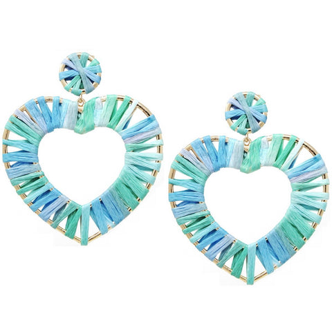 BITZ MINT BURST RAFFIA WRAPPED HEART EARRINGS