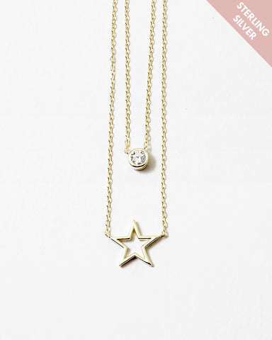 BITZ STERLING CZ STAR LAYERED NECKLACE