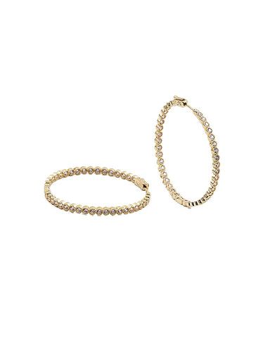 BITZ CZ HOOP EARRING - LARGE GOLD OR SILVER