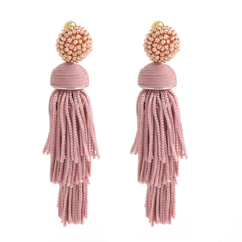 BEADED TASSEL N THREAD EARRING