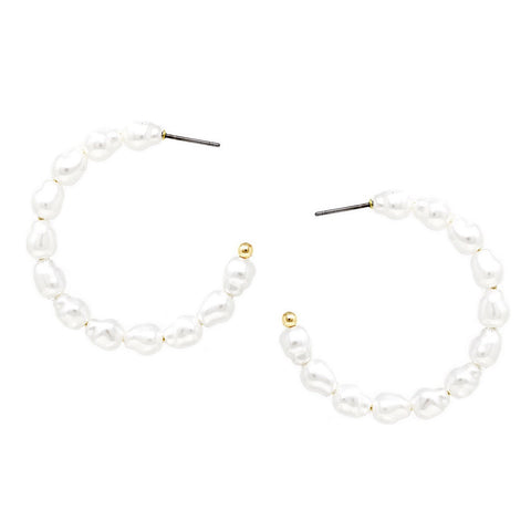 NEW!  BITZ PEARL PETITE BEADED HOOP EARRINGS - IN STOCK!!