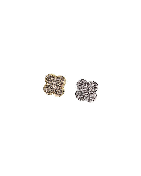 BITZ PAVE CZ CLOVER STUD EARRING GOLD OR SILVER