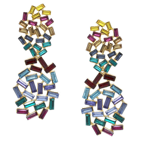BITZ FALL Glass Stone Pave Statement Earring