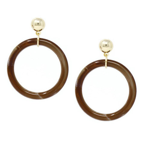 BITZ SKINNY HOOP DROP EARRINGS - BROWN