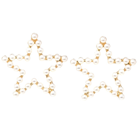 BITZ Pearl Bead Pave Star  Stud Earrings