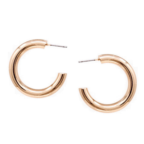 BITZ METAL SHINY HOOP EARRINGS - ROSE GOLD HOOPS X SMALL