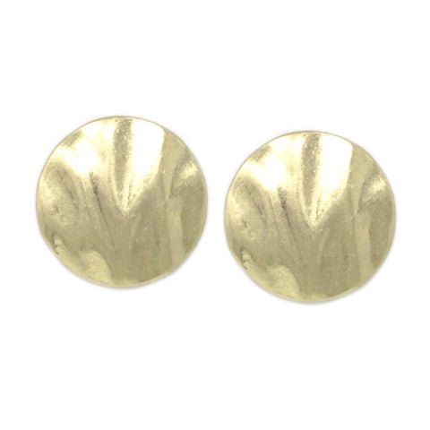 HAMMERED METAL DISC STUD EARRING - Gold