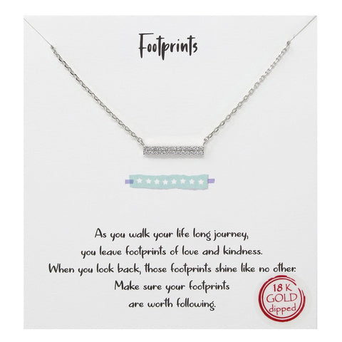 Tell Your Story: Footprints Bar Pendant Simple Chain Necklace - SILVER