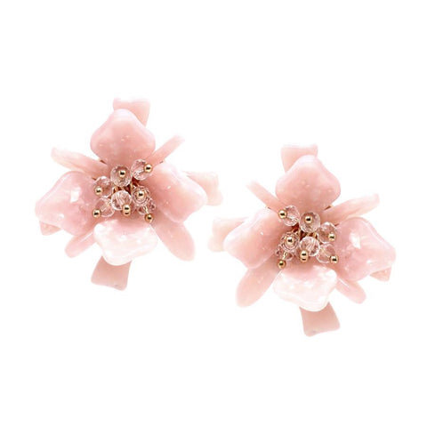 OVERSIZED GLASS BEAD FLOWER STUD EARRING - PINK