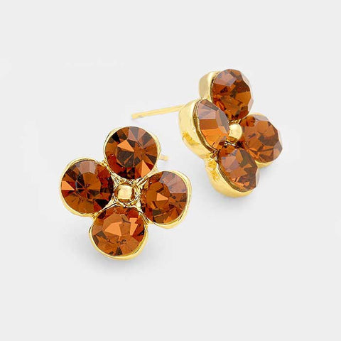 BITZ GLASS FLOWER STUD EARRING