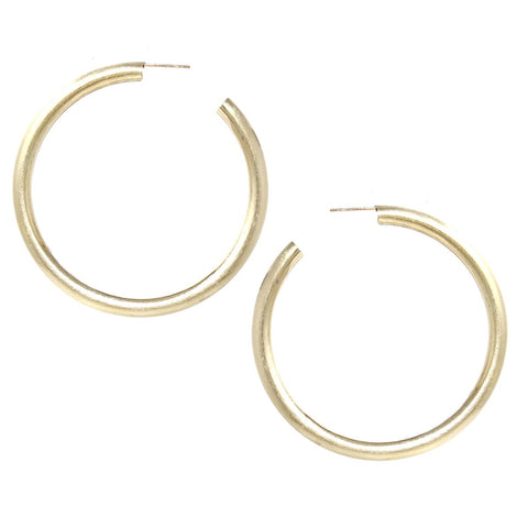 BITZ BRUSHED MATTE COATED HOOP EARRING - LARGE