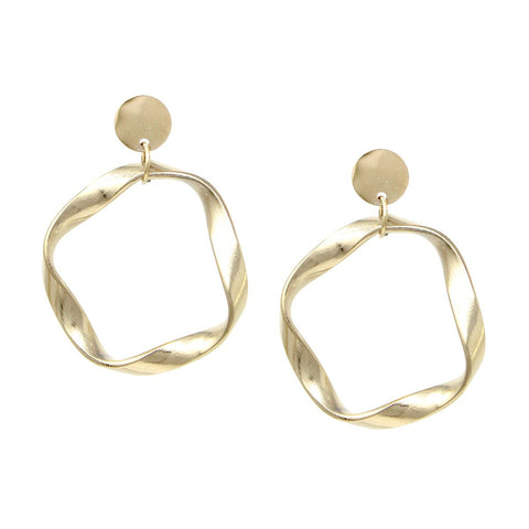 BITZ PETITE TWIST HOOP DROP EARRINGS - GOLD