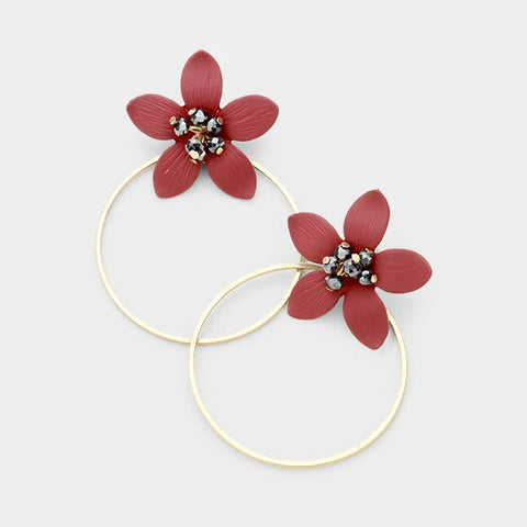BITZ  FALL FLOWER HOOP EARRING - BURGUNDY