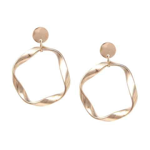 BITZ PETITE TWIST HOOP DROP EARRINGS - ROSE GOLD