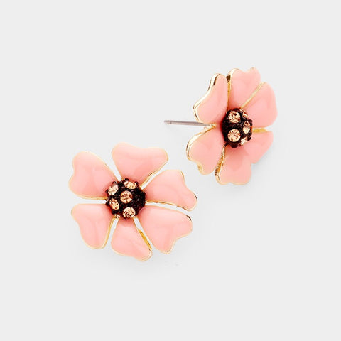 BITZ  MINI FLOWER N CRYSTAL STUD EARRING