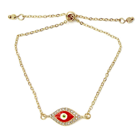 BITZ Rhinestone Pave Evil Eye Chain Bracelet With Sliding Bead  - RED