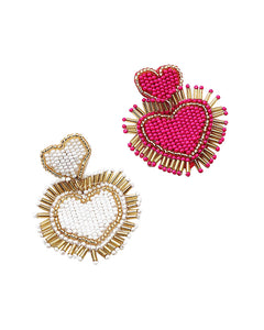 BITZ BEADED HEART DROP EARRING - HOT PINK