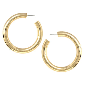 BITZ LARGE GOLD Metal Pipe Hoop Earrings