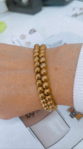 BITZ METAL BALL BEADED BRACELET - SILVER OR GOLD