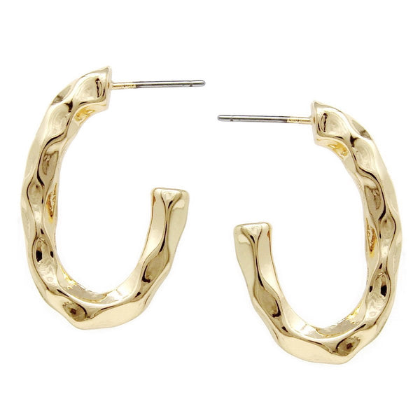 BITZ HAMMERED METAL SHINY OVAL HOOP EARRING TWO COLOR OPTIONS - GOLD OR SILVER