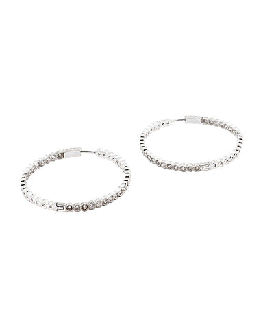 NEW! BITZ CZ HOOP EARRING - LARGE GOLD OR SILVER