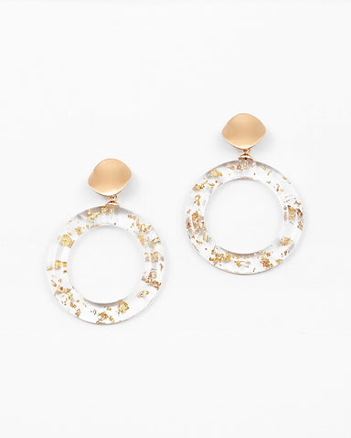 BITZ LUCITE GOLD CIRCLE EARRING