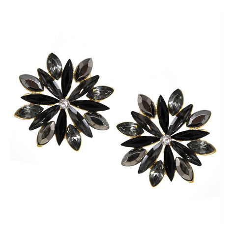 BITZ GLASS STONE PAVE FLOWER STUD EARRING