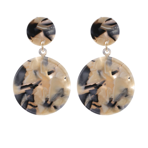 Geometric Marble Disc Earring