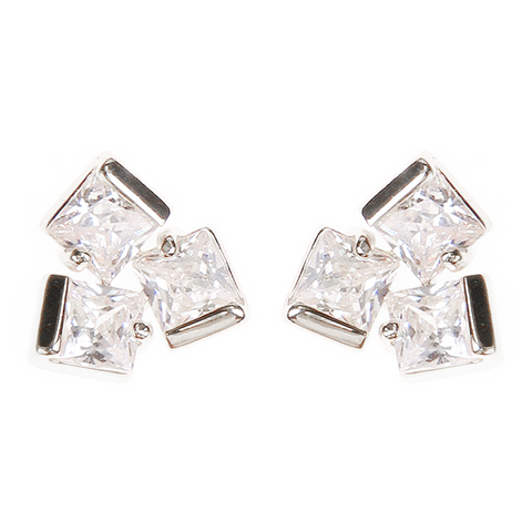 BITZ TRIO CZ Stone Statement Studs Earrings Gold/Silver