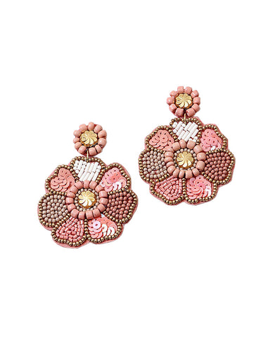 BITZ HANDMADE FLOWER SEQUIN EARRING - ROSE