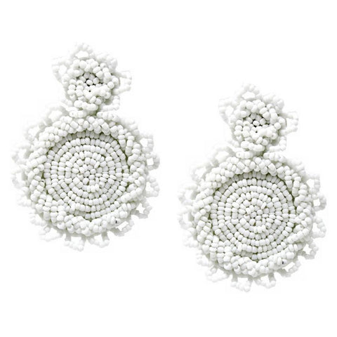 BITZ BEADED ALL EARRING - WHITE