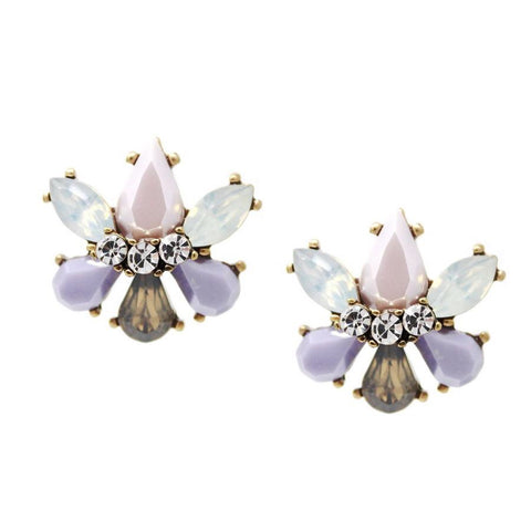 BITZ Glass N Stone Flower Stud Earrings  - AMETHYST