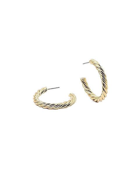 BITZ CHIC GOLD TWISTED HOOP EARRING