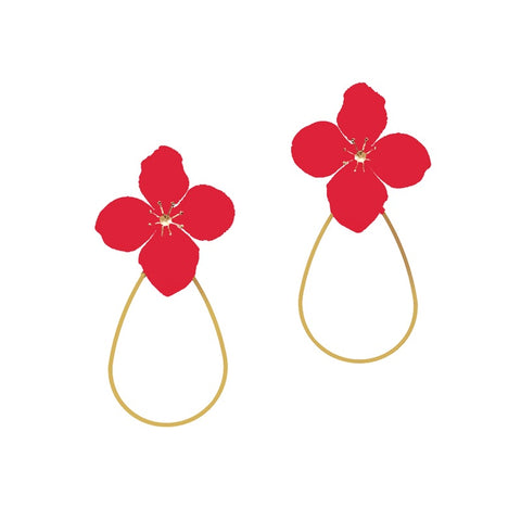 DELICATE FLOWER HOOP EARRING - RED