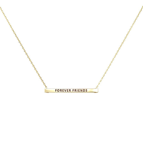FOREVER FRIENDS  Inspirational Message Pendant Short Necklace - GOLD DIPPED