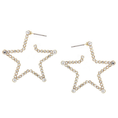 BITZ GLASS STONE STAR HOOP EARRING