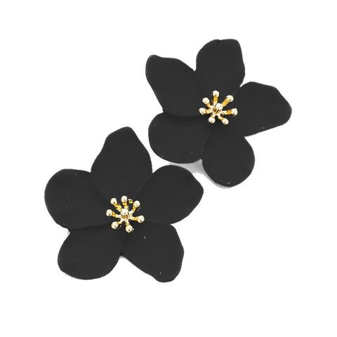 BITZ BLOOM FLOWER STUD EARRING - BLACK