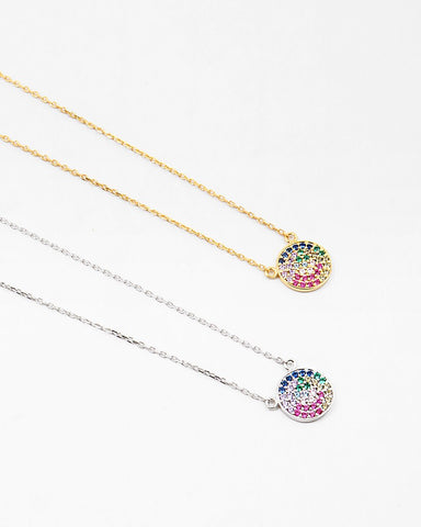 BITZ DELICATES STERLING  RAINBOW DISC CIRCLE NECKLACE