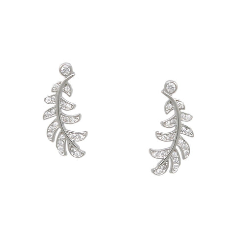 BITZ 925 Sterling Silver Cubic Zirconia Pave Leaf Stud Earrings