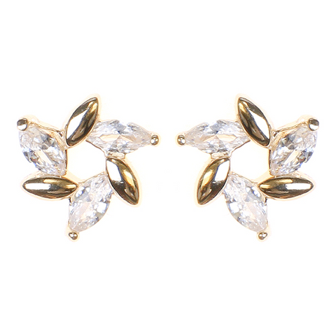 BITZ Glass Flower Stone Statement Studs Earrings - GOLD