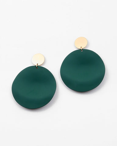 BITZ METAL ROUND EARRING - FALL GREEN