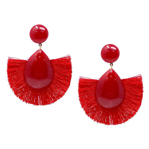 BITZ RED FAN TASSEL EARRING