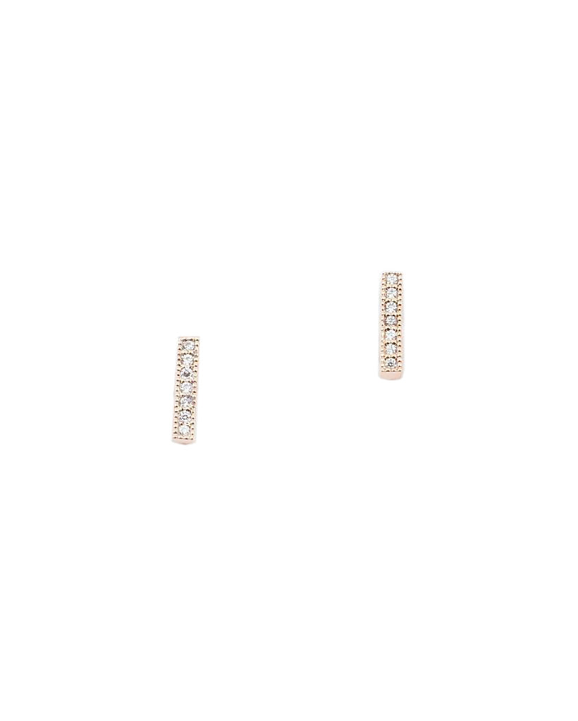 BITZ RHINESTONE SIMPLE BAR STUD EARRING - 3 COLOR OPTIONS