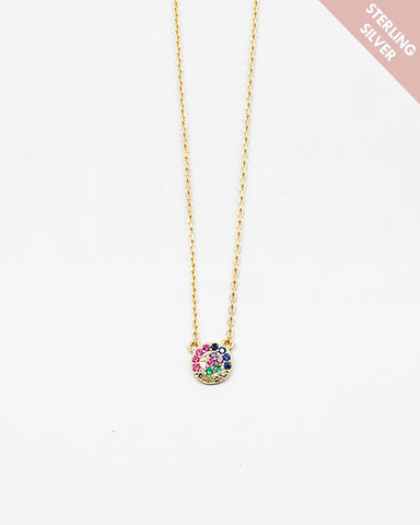 BITZ CZ 925 RAINBOW CIRCLE NECKLACE - TWO COLORS