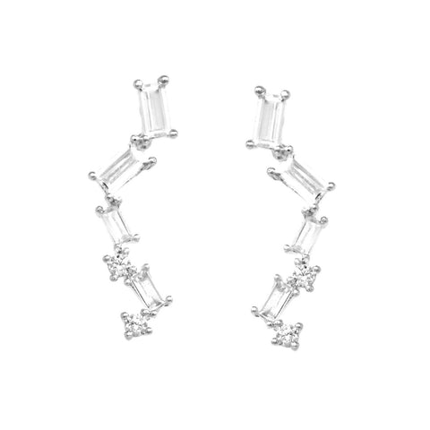 BITZ CZ Pave Bar Gold Dipped Earrings - SILVER EAR CRAWLERS