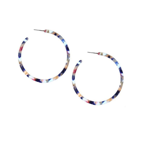 "MARBLE HOOP EARRING - 2"" larger size HOOPS"