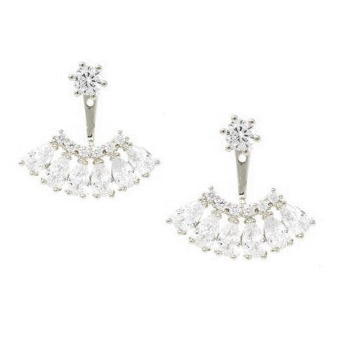 BITZ Cubic Zirconia Double Sided Stud Earrings   - Ear Jackets