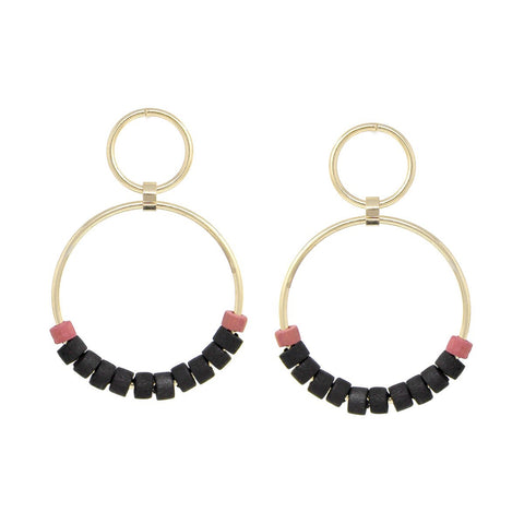 BITZ COLOR WOOD N BEADS HOOP DROP EARRINGS